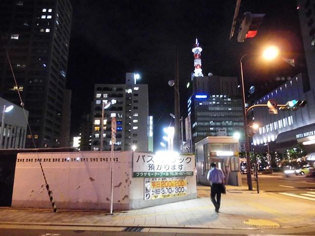 中津駅からプラザモータープール道順・夜の様子