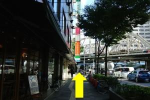 中津駅からプラザモータープール道順・直進道路