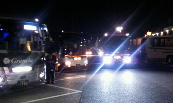 深夜の海老名は高速バスだらけ