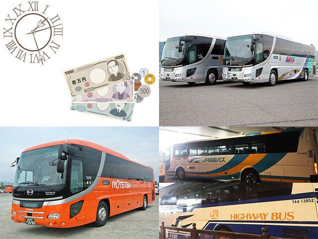 松山から名古屋間のバス料金と所要時間