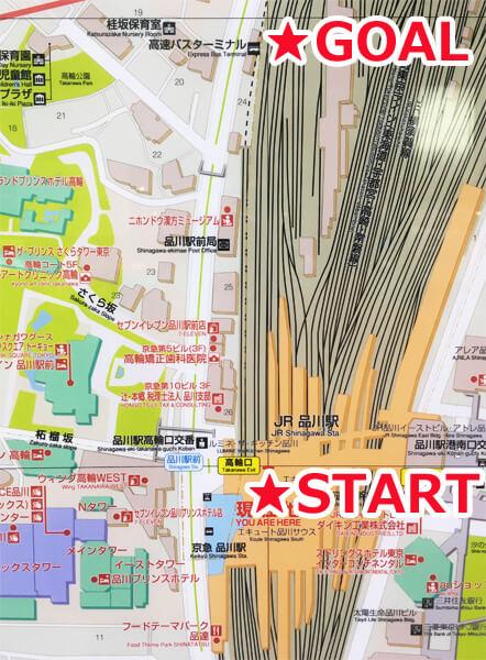 品川駅からの地図