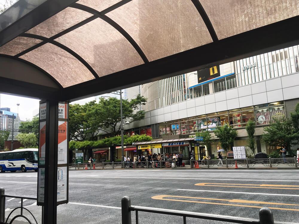 銀座の成田行バス停 東京シャトル側から見たTHEアクセス成田乗り場